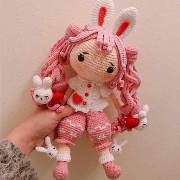 Handmade by me Crochet Pink Doll